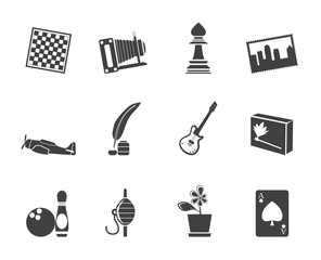 Silhouette Hobby, Leisure and Holiday Icons - Vector Icon Set