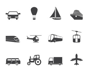 Silhouette Transportation and travel icons - vector icon set