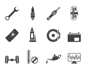 Silhouette Car Parts and Services icons - Vector Icon Set 1