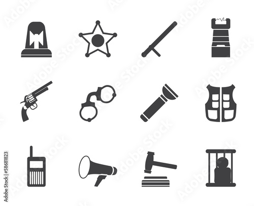Silhouette law, order, police and crime icons - vector icon set
