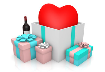 Heart on giftbox