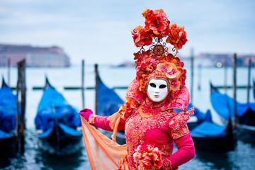 Woman masked for traditional Venice Carnival