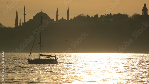 luxurious sail ship passing Bosporus
