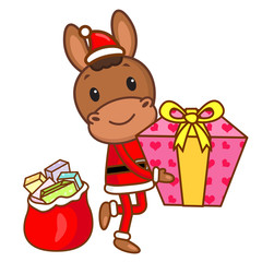 Horse mascot the hand is holding a Gift Box. Christmas Character