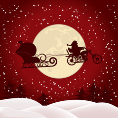 Santa on a motorcycle on full moon background