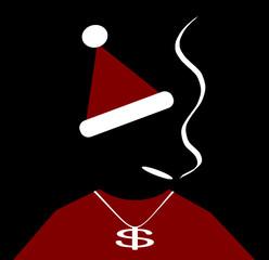 urban santa outfit with necklace smoking marijuana