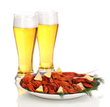 boiled crayfishes and beer isolated on white