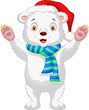 Cute baby polar bear cartoon wearing red hat
