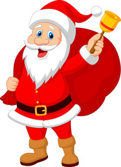 Santa Claus with bell carrying sack