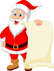 Santa clause cartoon holding blank vintage paper