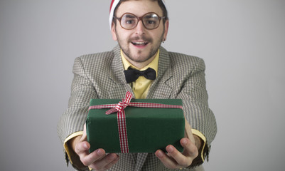 Nerd with gift