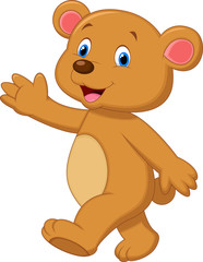 Cute brown bear waving hand
