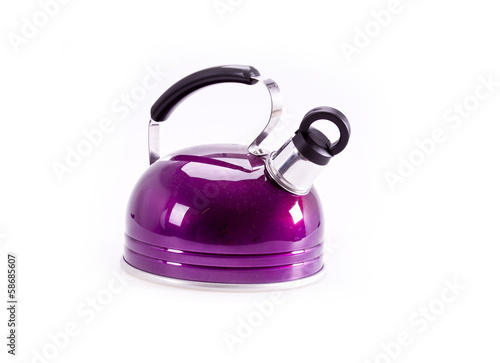 Green tea kettle isolated on white background