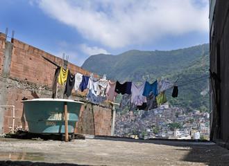 Clothes line in Favela Rocinha. Rio De Janeiro.