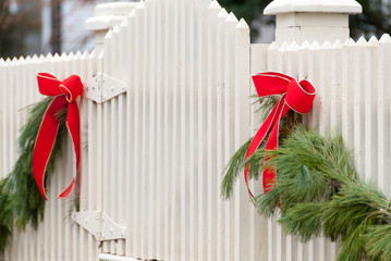 White Picket Fence, Garland, and Red Bow I