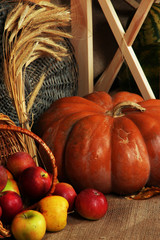 Apples in basket with pumpkin and on sackcloth on close up
