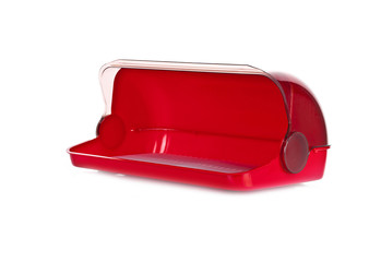 modern plastic red bread box  isolated