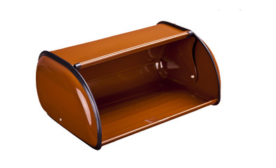 modern plastic brown  bread box  isolated