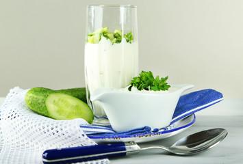 Cucumber yogurt in glass,