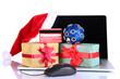 Laptop, gift and computer mouse isolated on white