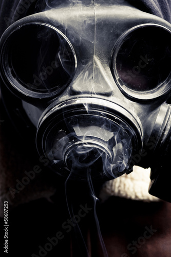 portrait man in gas mask