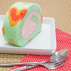 Sweet pastel roll cake