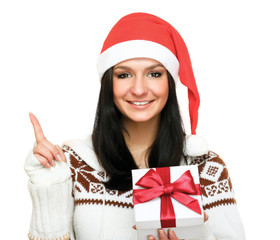 Woman in santa hat with gift,isolated on white background.