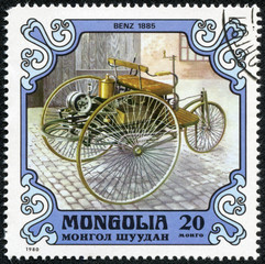 stamp printed in Mongolia shows a BENZ 1885 old car