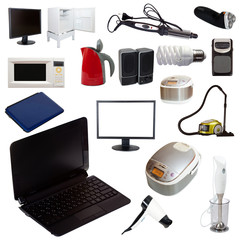 Set of  household appliances on white background