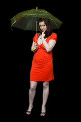 Young girl wearing red dress stands under an umbrella
