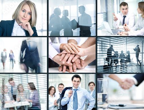 Collage of foto young people working together in business