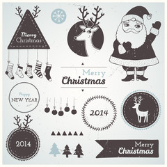 Christmas hipster decoration collection of icons elements.