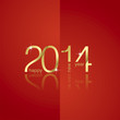 Gold New Year 2014 red background vector