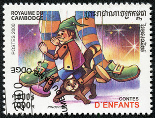 stamp printed in Cambodia shows Pinocchio