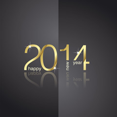 Gold 2014 front back black background vector
