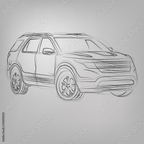 Vector sketched car