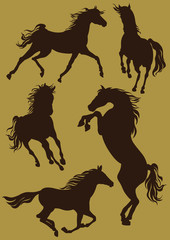 Silhouettes of horses in moving . Vector
