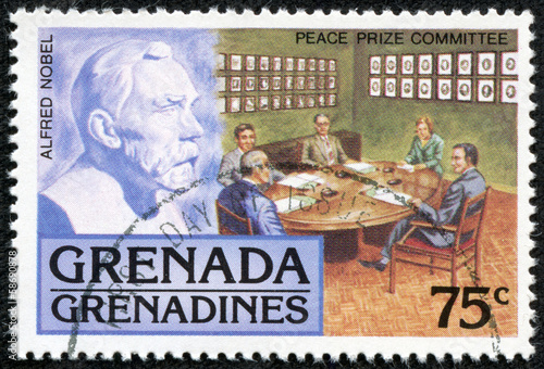 stamp printed in Grenada, shows alfred nobel