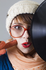 Winter girl with record