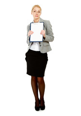A business woman holding papers , isolated on white background.