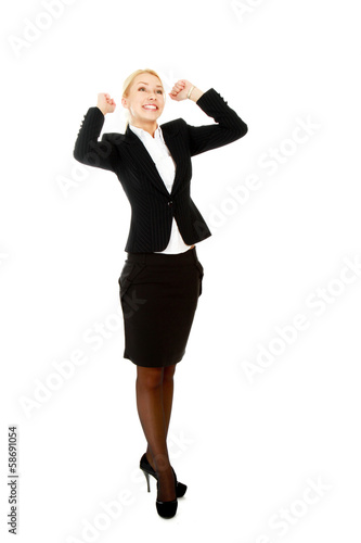 Business woman shows something, hands up