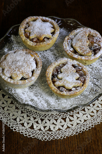 Traditional Mince Pies on glass stand