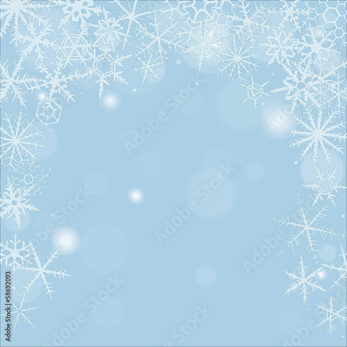 Christmas background with various hand-drawn snowflakes.
