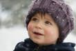 Leinwanddruck Bild - Winterbild mit Kind