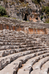 Ancient amphitheater and Lycian tombs in Myra (Turkey)