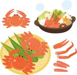 食用のカニと鍋料理