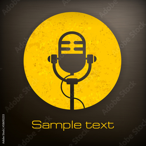 Retro microphone icon in yellow and black color, vector