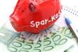rotes Sparschwein mit Geld