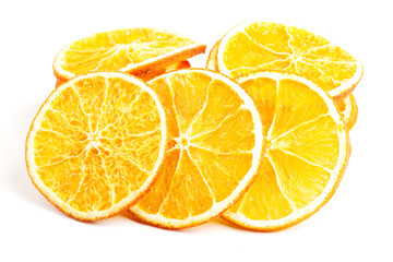 Slices of orange over white.