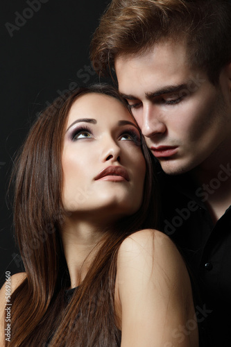 Sexy passion couple, beautiful young man and woman closeup